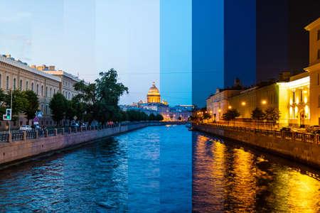 Zeitraffer-Collage von Scheiben zu verschiedenen Tageszeiten. Schöne Aussicht auf den Fluss Moyka und historische Gebäude von der Potseluev-Brücke, Sankt Petersburg, Russland Standard-Bild