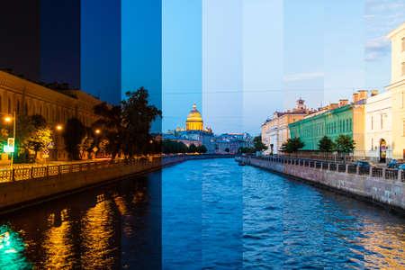 Zeitraffer-Collage von Scheiben zu verschiedenen Tageszeiten. Schöne Aussicht auf den Fluss Moyka und historische Gebäude von der Potseluev-Brücke, Sankt Petersburg, Russland