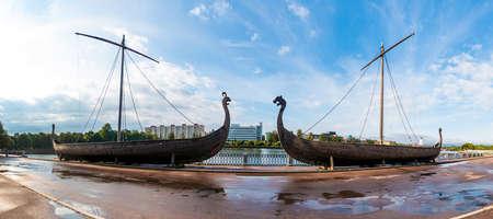 Panoramic view of the two Viking ships on the embankment of the Salakkalahti Bay, Vyborg, Leningrad Oblast, Russia
