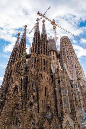 Barcelona, Catalonia, Spain - November 19, 2018: Worm's-eye view of the Temple Expiatori de la Sagrada Familia (Expiatory Church of the Holy Family)