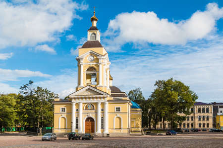 Vyborg, Leningrad Oblast, Russia - September 12, 2018: Transfiguration Cathedral on the Cathedral Square in sunny day Editorial