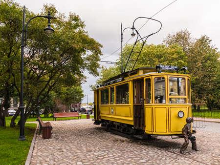 Vyborg, Leningrad Oblast, Russia - September 12, 2018: Tram Cafe on Bankovskiy Proyezd in overcast autumn day