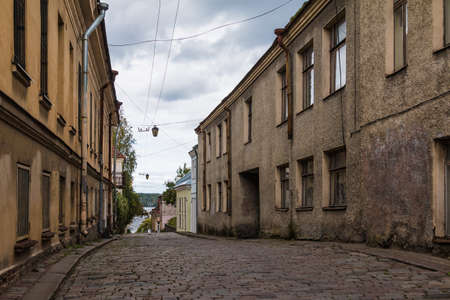 Perspective view of the apartment buildings on the Water Outpost Street in overcast day, Vyborg, Leningrad Oblast, Russia