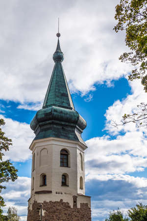 The Town Hall Tower on the background of cloudy sky, Vyborg, Leningrad Oblast, Russia