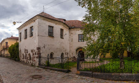 Vyborg, Leningrad Oblast, Russia - September 13, 2018: Hostel of Saint Hyacinth on the Water Outpost Street in overcast day