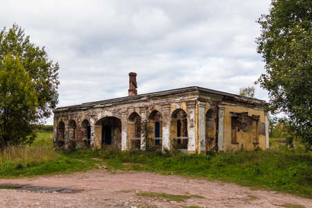 The abandoned dilapidated guardhouse in Annenkrone in overcast day, Vyborg, Leningrad Oblast, Russia