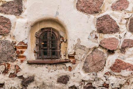 Window on the facade of the Round Tower, Vyborg, Leningrad Oblast, Russia Banco de Imagens
