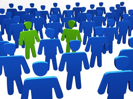 kindred: kindred spirit - two people meet each other in crowd Stock Photo