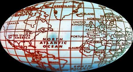 hemisphere: Simple world map. Map of world and focus on northern hemisphere