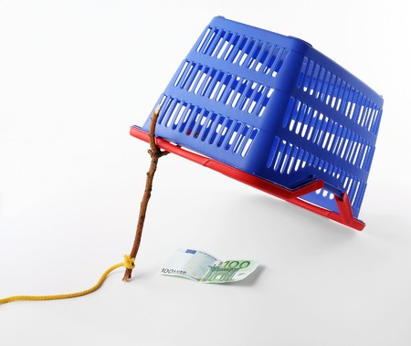 Isolated shopping bag trap. Shop or market basket ambush. Advertising and marketing concept Stock Photo - 4415891