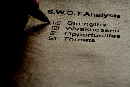 weakness: Business strategy analysis concept. SWOT analysis - strength, weakness, opportunities, threats