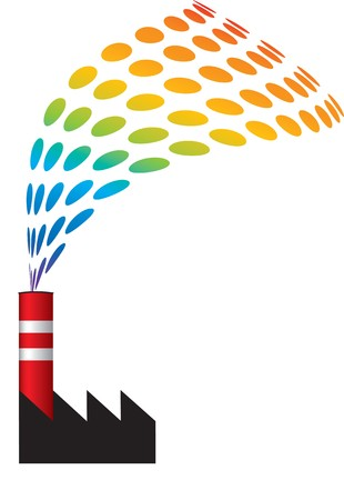 Chimney with filter and clean smoke exhaust saving nature environment in danger. Industrial ecology  and sustainable development concept vector illustration.  Stock Illustration - 4415796
