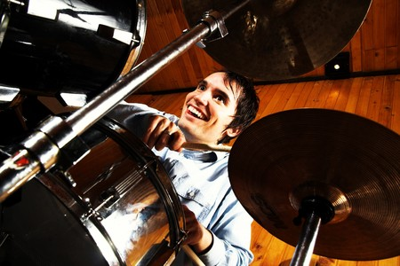 bass drum: Drummer playing drums. Rock music concept