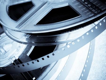 Blue Film reels closeup Stock Photo