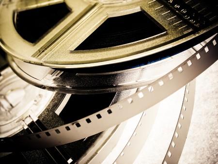 Film reels closeup photo