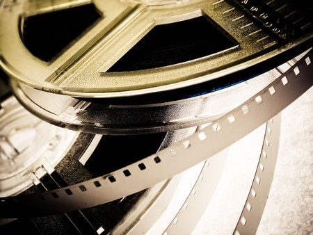 cinema strip: Film reels closeup
