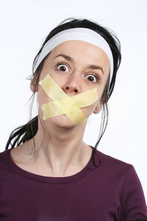 Censor and freedom of speech concept. Mouth tied. Human rights photo