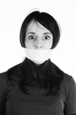 Censor and freedom of speech concept. Tied woman mouth . Human rights photo