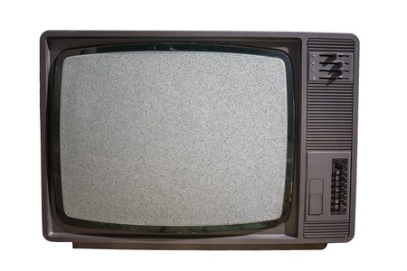 signal: Old TV with noise on screen - No signal. Television and mass media concept.