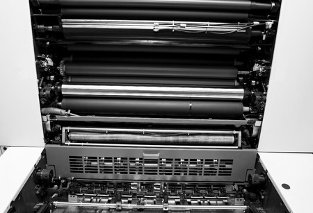 Opened Offset Printing Machine. Print industry concept