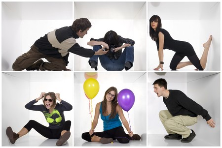 Young individual people in white boxes with various expressions and situations. Different people concept