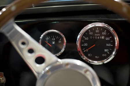 Dashboard of an oldtimer and a steering wheel Stock Photo - 4420941