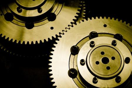 torque: Industrial gears detail. Mechanic concept background Stock Photo