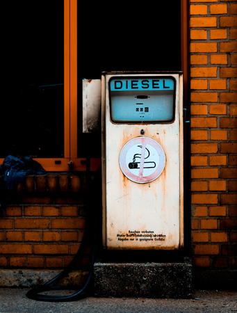Retro diesel gas station. Environment conservation concept Stock Photo