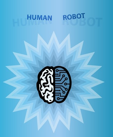 manlike: Vector illustration of a brain. Human robot brain. AI concept