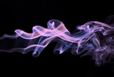 wave hello: Abstract smoke shape background. Purple smoke on black background