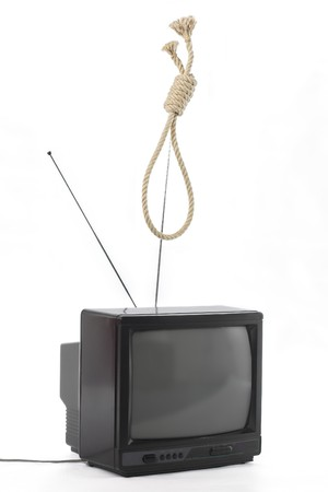TV and hangman noose rope. TV mind domination concept