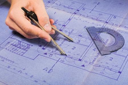 Architecture blueprint document. photo