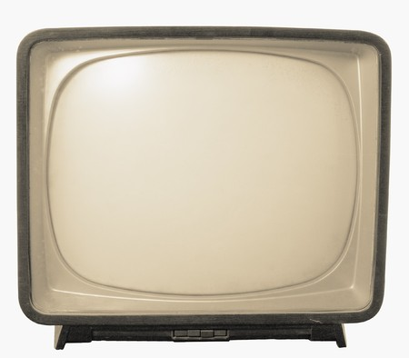 Old TV with black and white screen. Retro Television concept Stock Photo