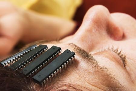 Cerebro de equipo chip en humanos. Chips de inteligencia artificial en micro. Concepto de tecnología de robot Foto de archivo - 4420687