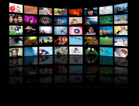 videos: LCD TV panels. Television production technology concept