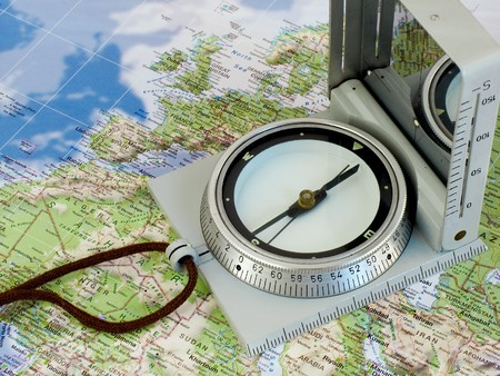 coordinate: Navigate with compass. Map of europe and north africa