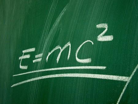 relativity: Einstein formula of relativity on school blackboard Stock Photo