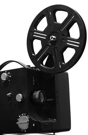 screenplay: Film projector. Film reel on retro film projector. Stock Photo