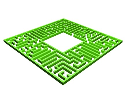 Labyrinth. 3D render of Labyrinth. Network of paths in a maze. Puzzle concept for finding a solution in a maze Stock Photo - 4522827