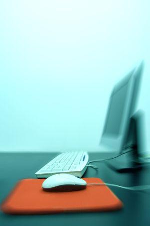 Modern computing concept. Desktop computer in zoom blur