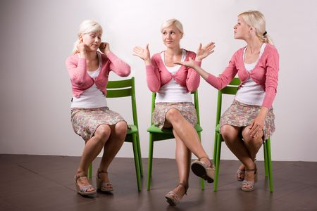 clones: Same woman fighting with herself. One is arguing, the other is not listening and third is neutral, ego,  quarrel