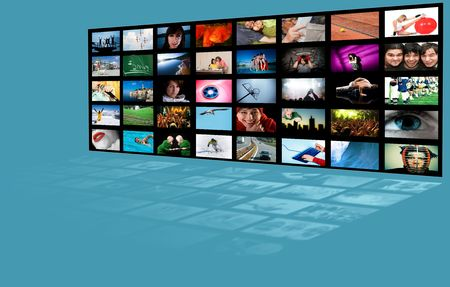 LCD TV panels. Television production technology concept