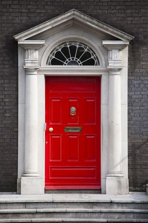 front door: Traditional house entrance door in London, England