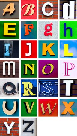 separated: Advertising banner letter cutouts. Make your own words easily with this fix width alphabet