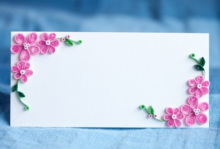 Blank decorative invitation card for the wedding  Handmade paper floral decoration Stock Photo