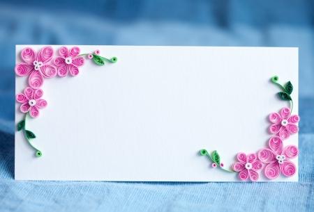 Blank dekorativen Einladungskarte für die Hochzeit Büttenpapier Blumendekoration Standard-Bild - 14848038