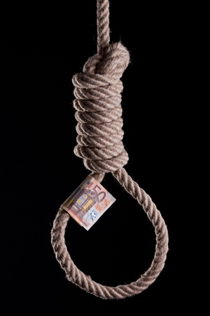 50 Euro bill haging on a hangman noose