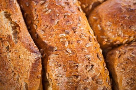 Loaf of bread with sunflower seeds  Shallow DOF