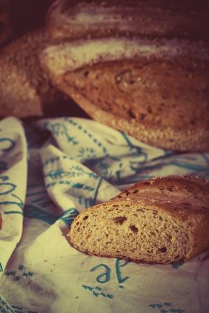 Vintage style bread sliced