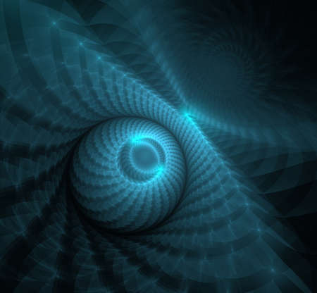 Fractil 3D sphere dark blue computer-generated. Abstract fractal blue texture. Reklamní fotografie